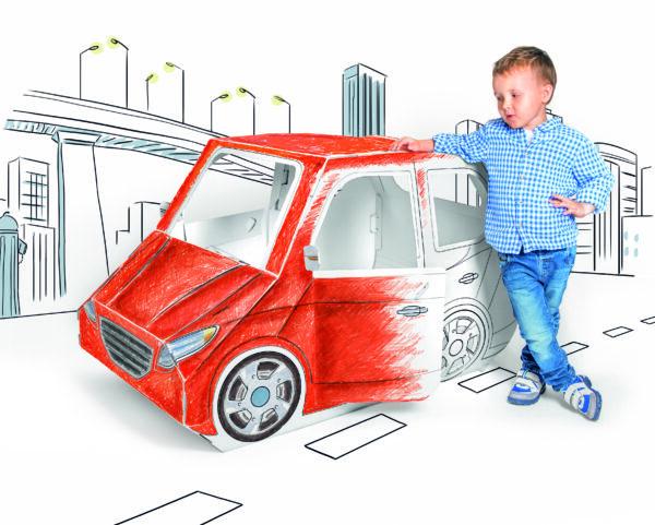 Kartonnen speelgoed auto om in te kleuren