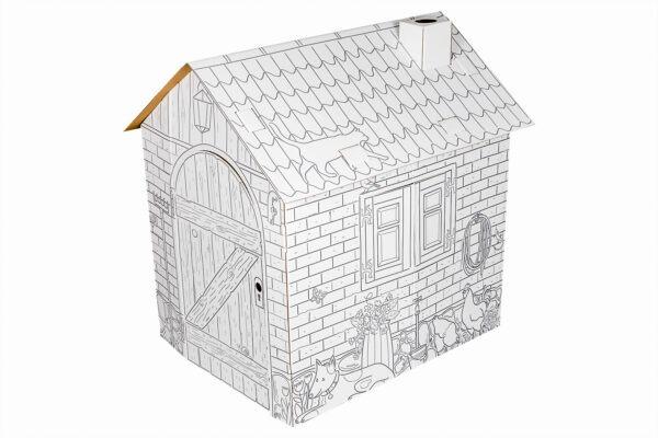 Kartonnen boerderij speelhuisje om in te kleuren zijkant