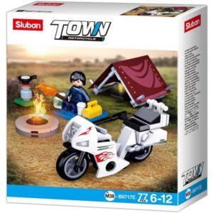 Sluban kamperende motorijder, alternatief voor lego