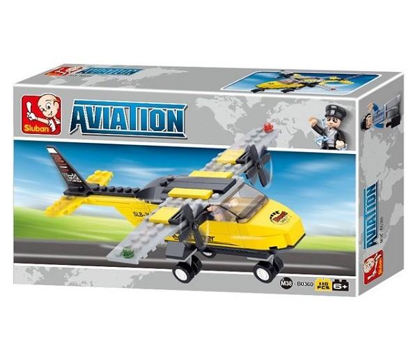 Sluban bouwblokjes trainingsvliegtuig