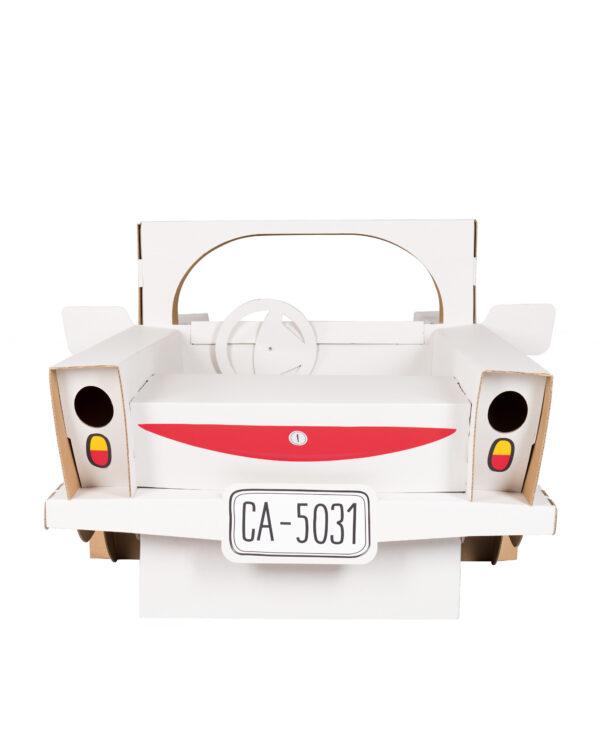 Speelgoed auto van karton om in te kleuren achterkant