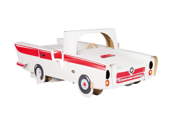 Speelauto van karton om in te kleuren