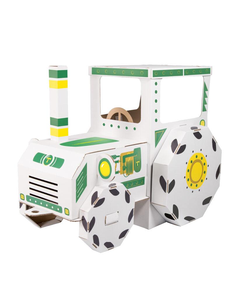 Kartonnen tractor om in te kleuren