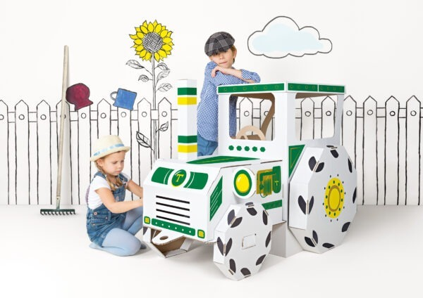 Speelgoed tractor van karton om te kleuren