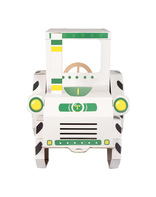 Speelgoed tractor om in te kleuren van karton