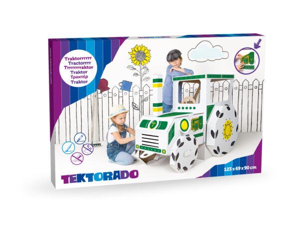 Kartonnen tractor om te kleuren in doos
