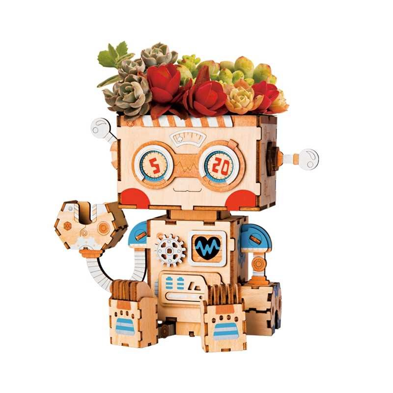 Zelfgemaakte bloempot robot van hout