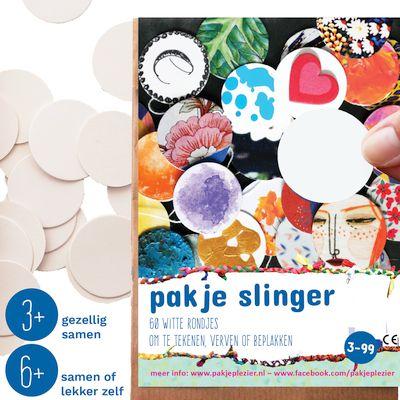 Verpakking van zelf slinger maken met knutselpakket van pakje plezier