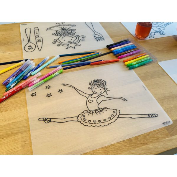 Voorbeeld herkleurbare placemat ballerina op tafel