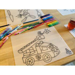 Voorbeeld herkleurbare placemat brandweer op tafel