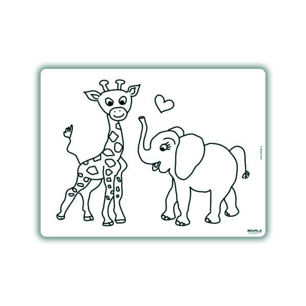 Voorbeeld herkleurbare placemat giraffe en olifant
