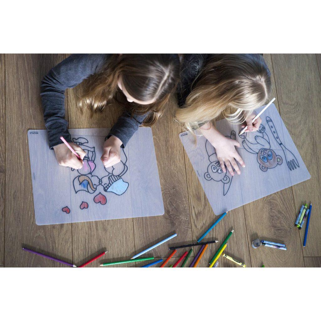 2 kinderen kleuren herkleurbare placemat