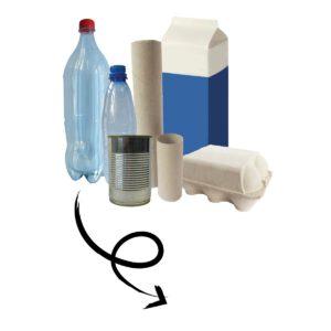 Dozen en flessen om te gebruiken voor re-cycle-me knutselpakketten