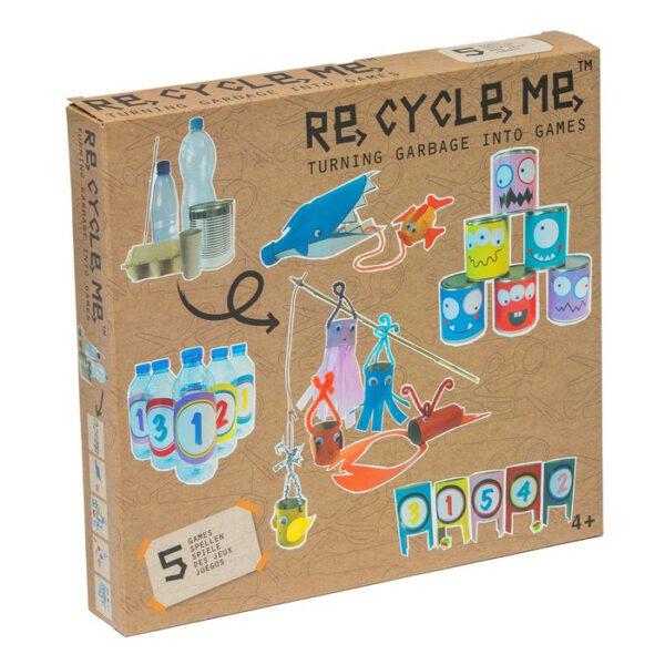 Doos van Knutselpakket om met gerecyclede materialen spelletjes te maken