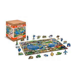 houten puzzel voor kinderen de wereld met dieren