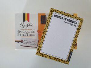 Bedankje juf - notitieboekje en chocolade