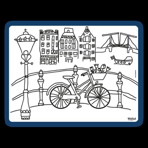 Herkleurbare placemat fiets aan de gracht