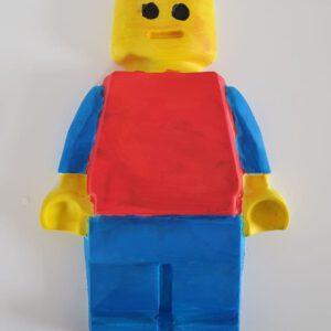 lego pop van gips geschilderd