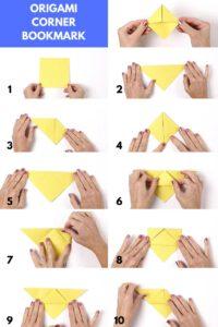 Origami voor kinderen boekenlegger stap voor stap instructies