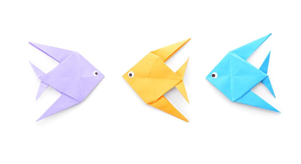 Origami voor kinderen: 3 vissen