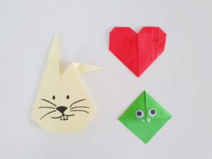 origami voorbeelden voor kinderen: konijn, hart en boekenlegger