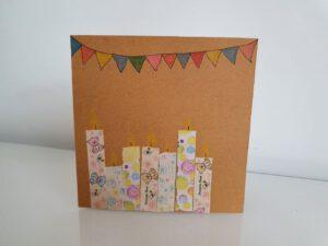 Verjaardagskaart knutselen met washi tape