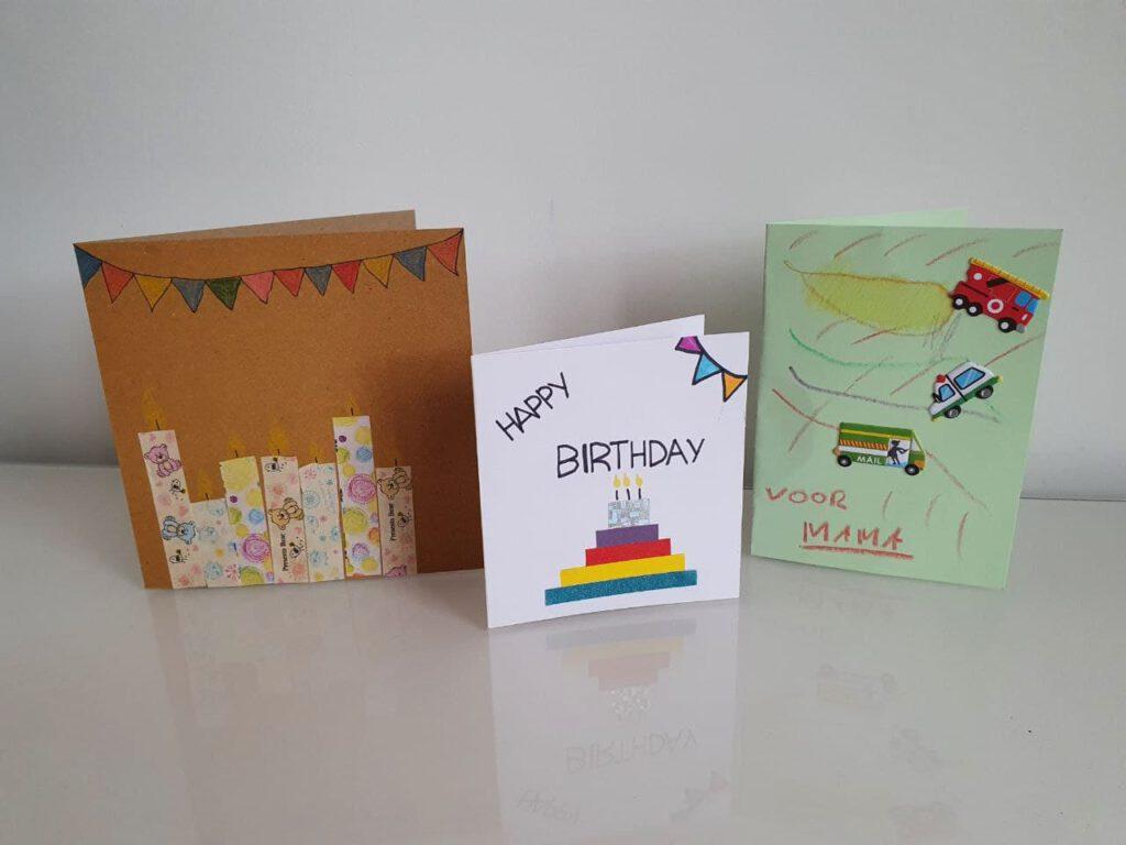 3 zelfgemaakte verjaardagskaarten