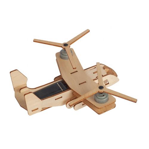 3D houten puzzel vliegtuig op zonne-energiehouten vliegtuig op zonne-energie