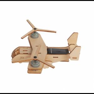 houten vliegtuig op zonne-energie zijkant
