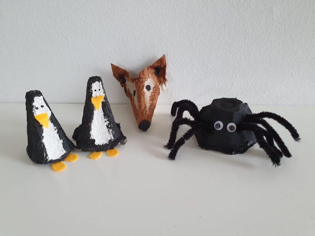 Knutselen met eierdozen: een spin, pinguïn en vos
